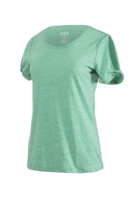 Women's Split Sleeve Tee, EMERALD, hi-res