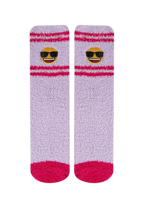 Ladies'  Emoji Plush Socks, LILAC, hi-res
