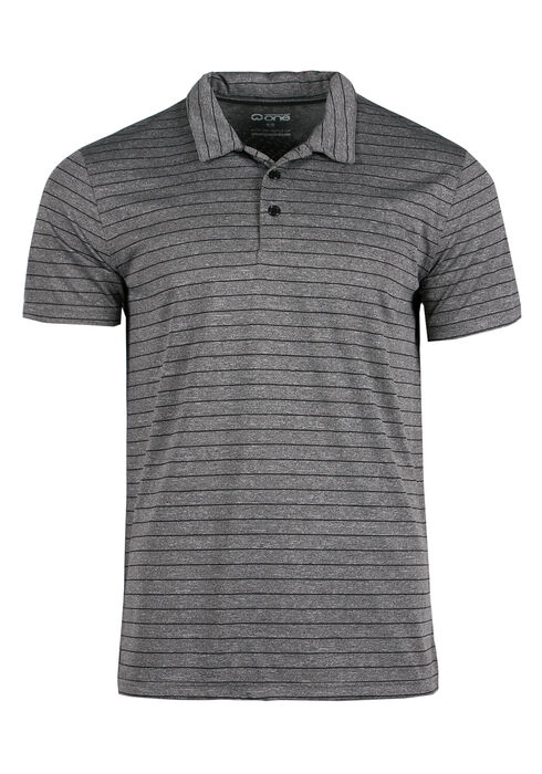 Men's Athletic Striped Polo, Charcoal, hi-res