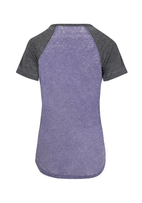 Ladies' Burnout Baseball Tee, PURPLE/BLK, hi-res