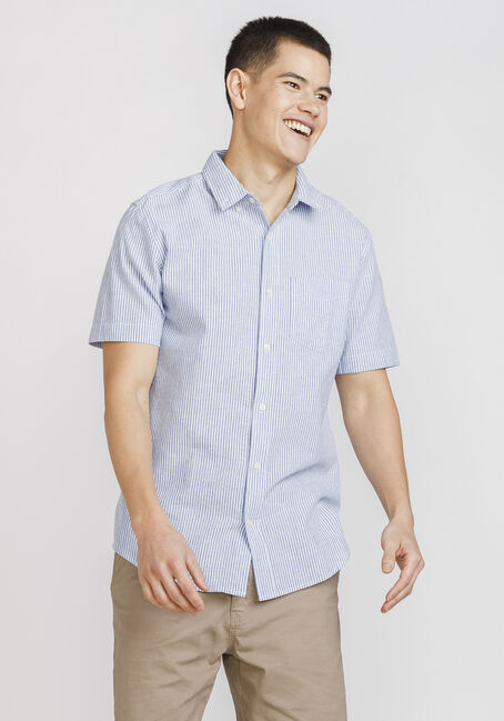 Men's Mini Stripe Shirt, BLUE, hi-res