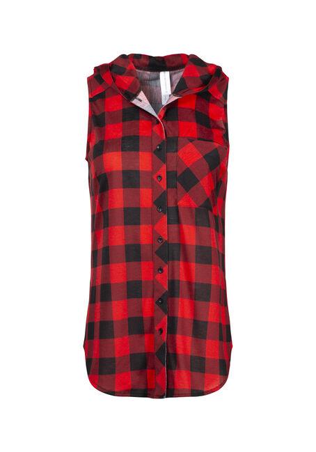 Women's Buffalo Plaid Hooded Shirt