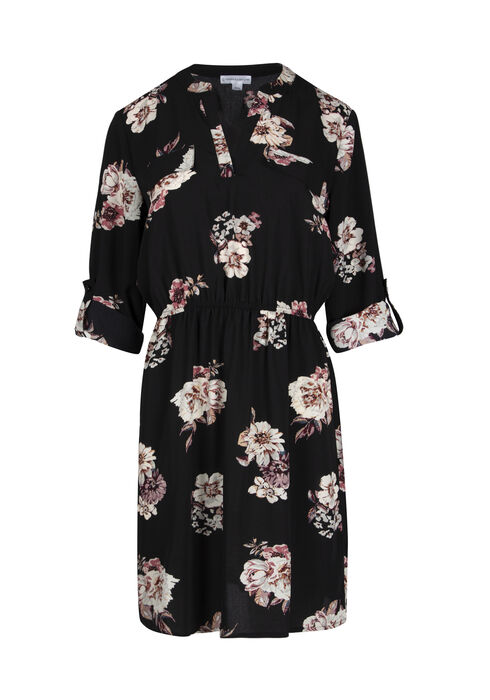 Ladies' Floral Roll Sleeve Shirt Dress, BLACK PRINT, hi-res