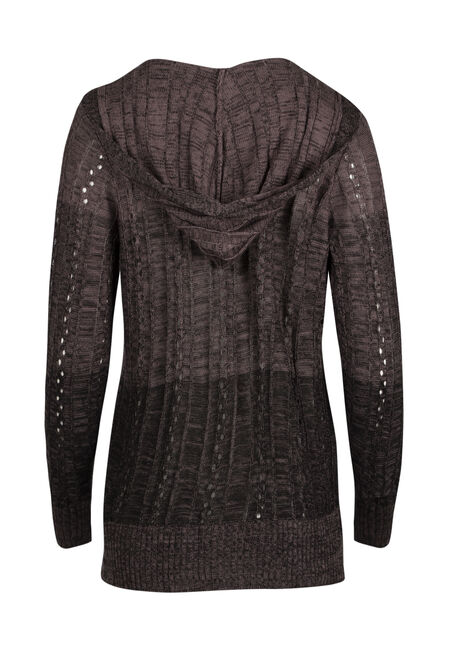 Ladies' Ombre Hooded Cardigan, PURPLE/BLACK, hi-res