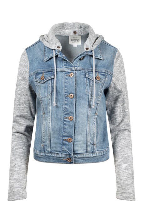 Women's Knit Sleeve Jean Jacket