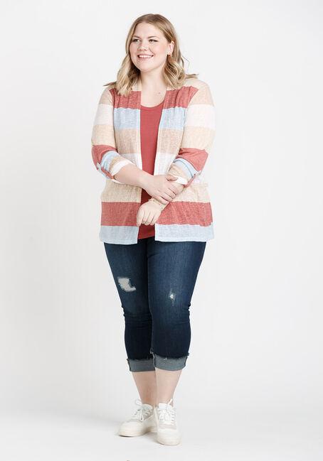 Women's Roll Sleeve Striped Cardigan, MULTI, hi-res