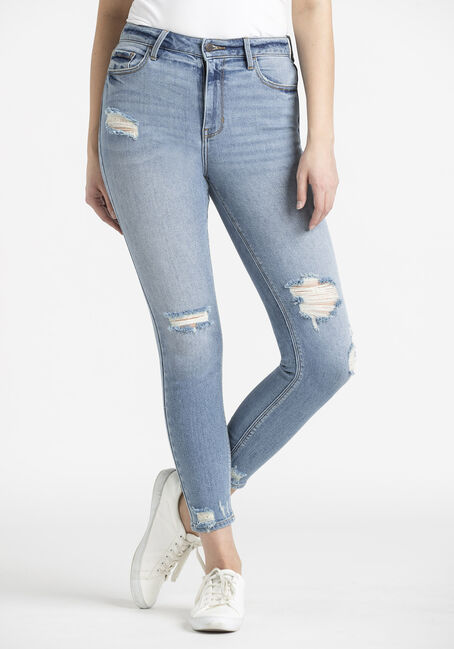 Women's High Rise Distress Ankle Skinny