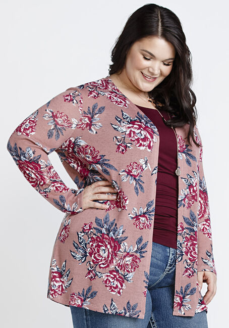 Women's Floral Cardigan, DARK ROSE, hi-res