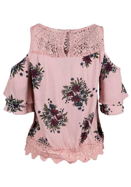 Ladies' Floral Cold Shoulder Top, PINK, hi-res
