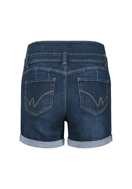Women's Stacked Waist Short, DARK WASH, hi-res