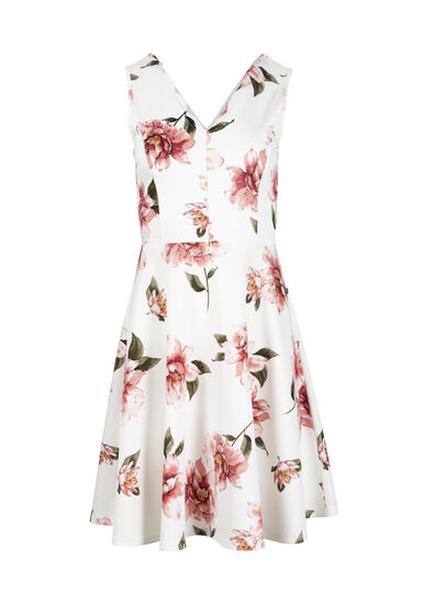 Women's Double V-Neck Fit & Flare Dress, IVORY, hi-res