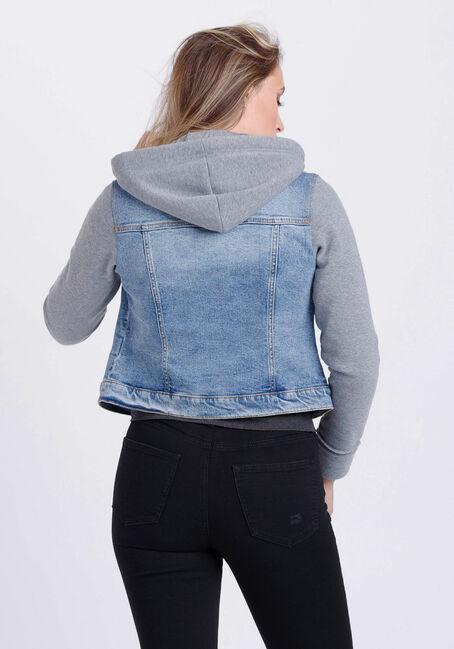 Women's Fleece Sleeve Jean Jacket, MEDIUM WASH, hi-res