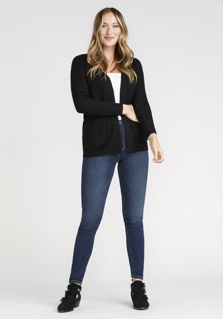 Women's Open Cable Cardigan, BLACK, hi-res