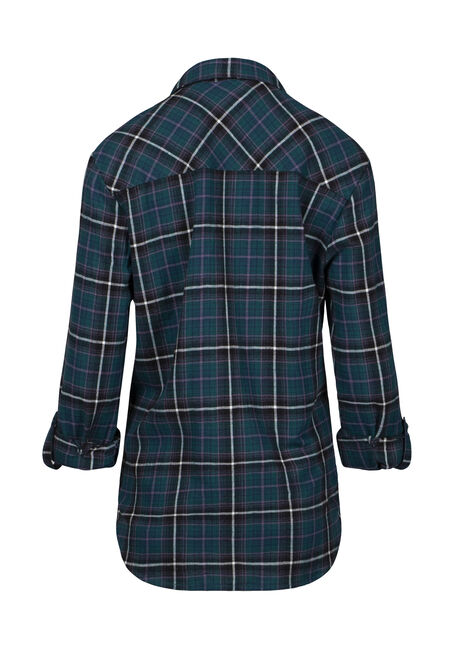 Women's Flannel Boyfriend Shirt, TEAL, hi-res