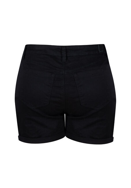 Women's Plus High Rise Button Fly Short, BLACK, hi-res