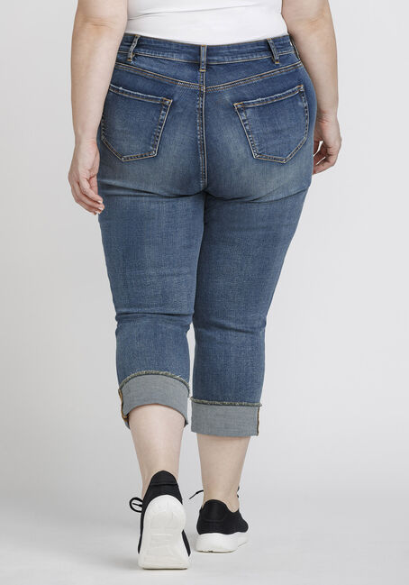 Women's Plus Size Distressed Skinny Cuffed Capri, DENIM, hi-res