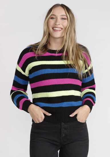 Womens' Stripe Sweater, BLACK, hi-res
