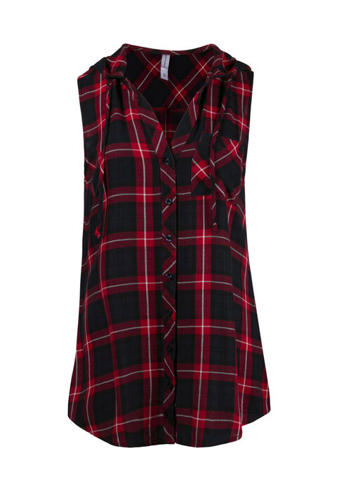 Women's Hooded Plaid Shirt, RED SEA, hi-res