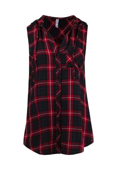 Women's Hooded Plaid Shirt, RED SEA, hi-res