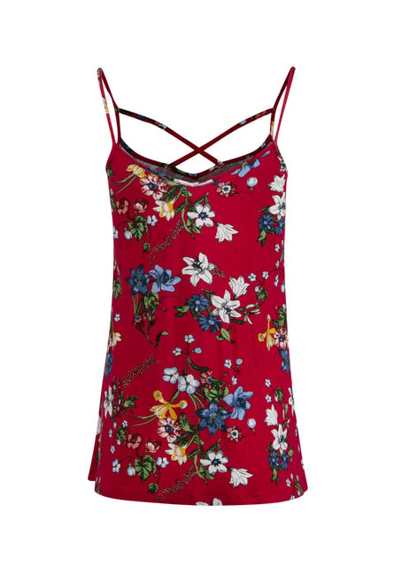 Women's Floral Cage Neck Tank, RED SEA, hi-res