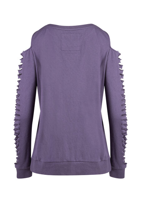 Ladies' Shredded Sleeve Fleece, DAHLIA, hi-res