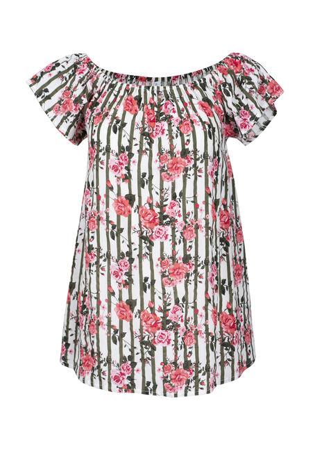 Women's Floral & Stripe Bardot Top