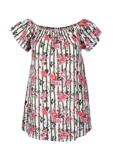 Women's Floral & Stripe Bardot Top, WHITE, hi-res