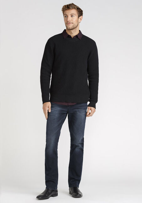 Men's Shaker Knit Sweater, BLACK, hi-res