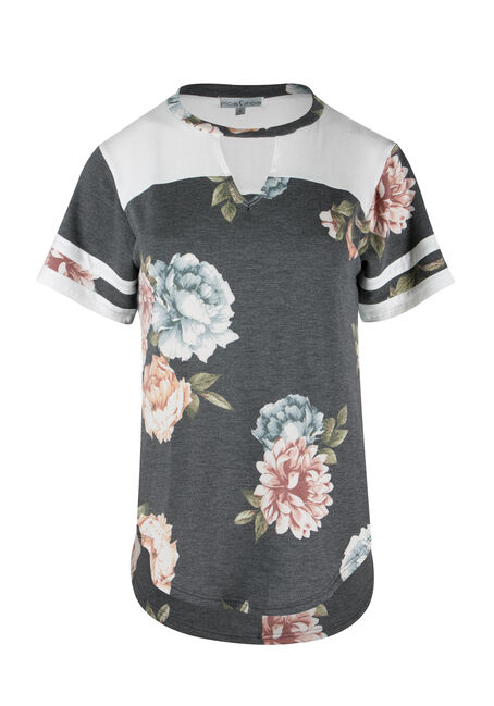 Ladies' Floral Colour Block Tee