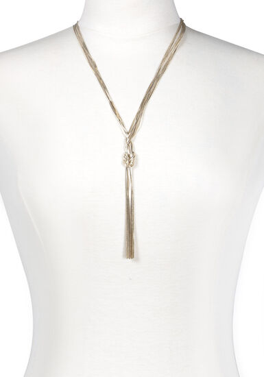 Women's Knotted Chain Necklace, GOLD, hi-res