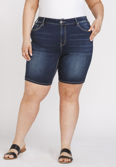 Women's Plus Size Dark Wash Slim Bermuda