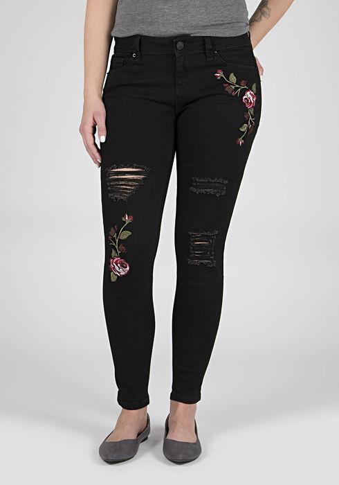 Ladies' Embroidered Skinny Jeans, BLACK, hi-res