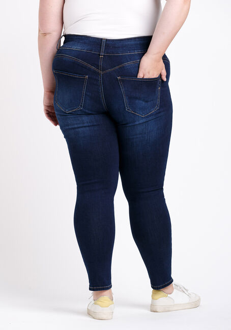 Women's Plus 3 Button High Rise Destroyed Skinny Jeans, DARK WASH, hi-res