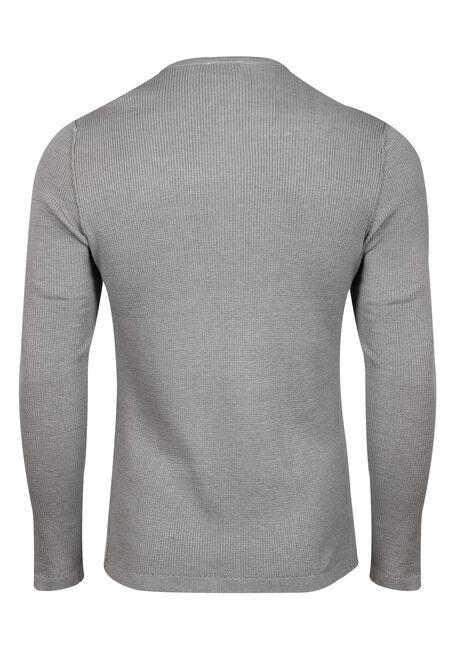 Men's Thermal Knit Henley, HEATHER GREY, hi-res