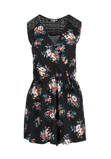 Women's Floral Wrap Front Romper, BLACK, hi-res