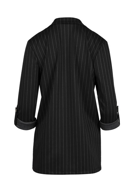 Ladies' Pinstripe Blazer, BLACK, hi-res