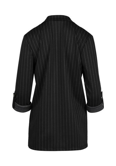 Ladies' Pinstripe Blazer, BLACK, hi-res