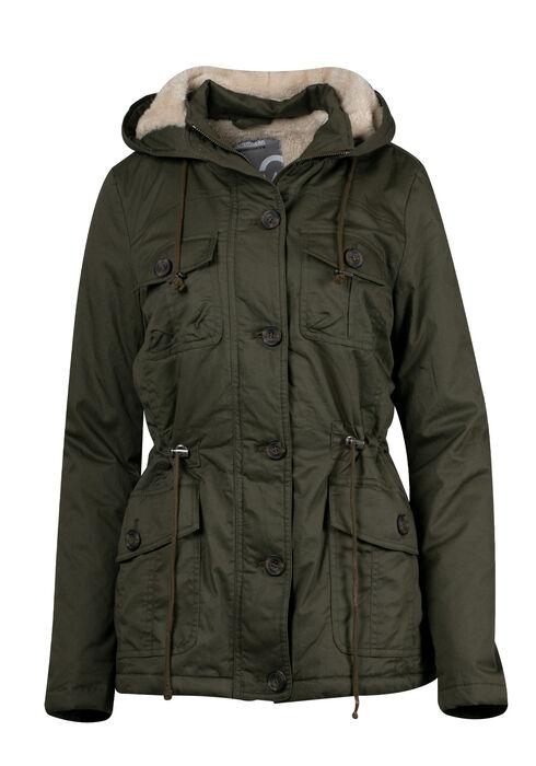 Women's Hooded Anorak Jacket, OLIVE, hi-res