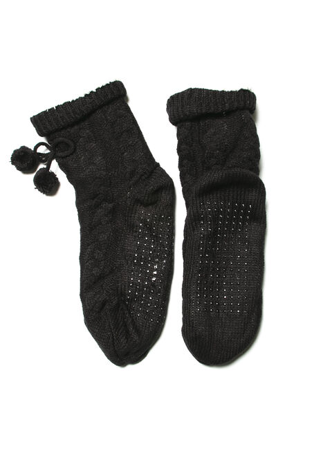 Women's Cozy Slippers, BLACK, hi-res