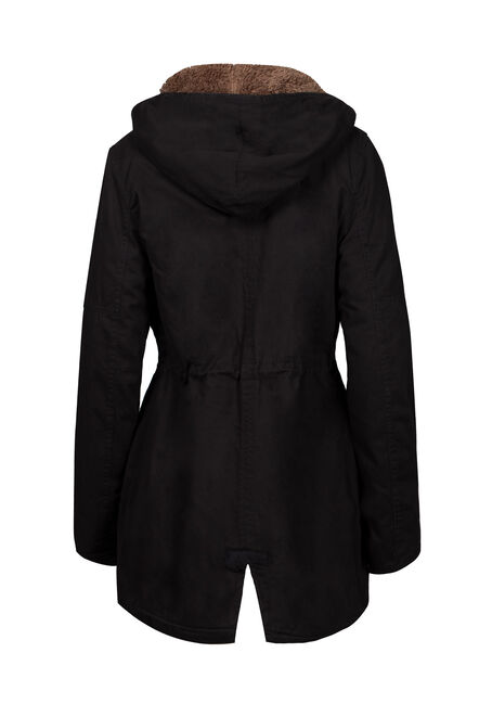 Women's Hooded Anorak Jacket, BLACK, hi-res