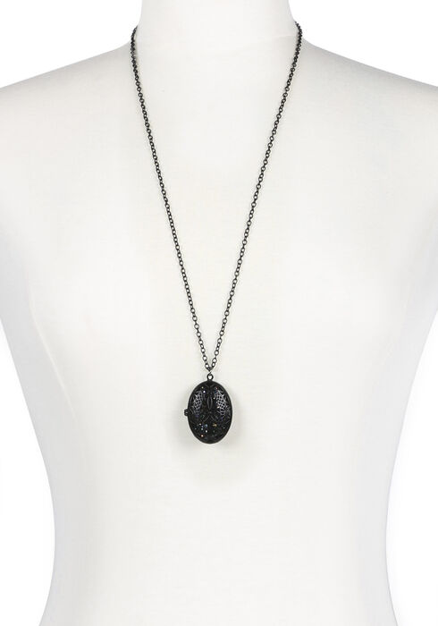 Ladies' Locket Necklace, BLACK, hi-res