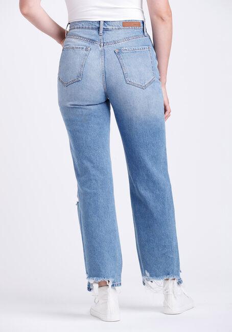 Women's Super High Rise Heavy Distress Dad Jeans, MEDIUM WASH, hi-res