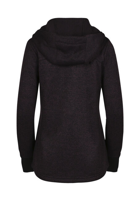 Ladies' Textured Zip Hoodie, HORTENSIA/BLACK, hi-res