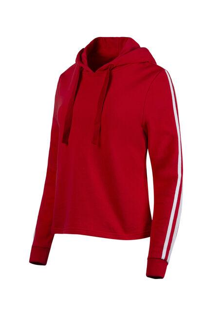 Women's Striped Sleeve Hoodie, RED SEA, hi-res