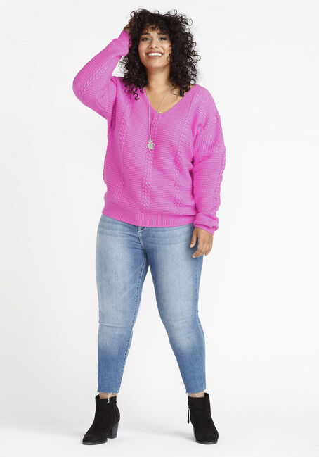Women's Cable Knit Pullover, FIESTY FUCHSIA, hi-res