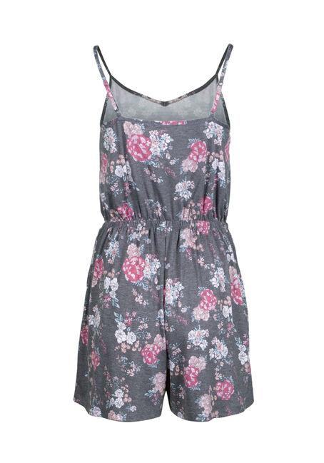 Women's Floral Blossom Print Romper, HEATHER GREY, hi-res
