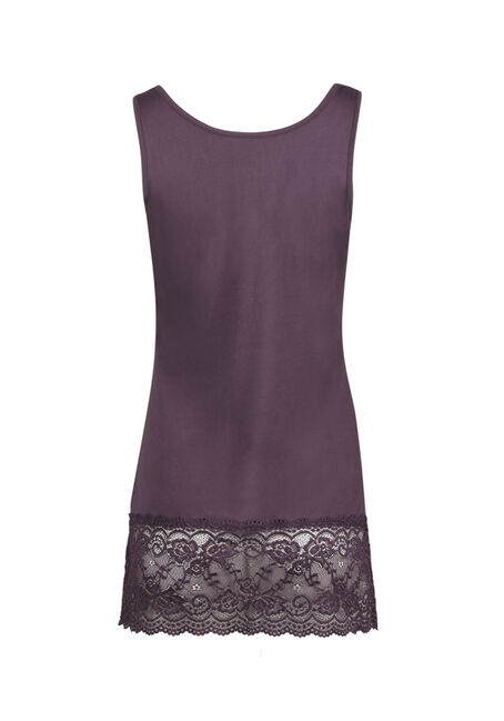 Ladies' Lace Trim Tunic Tank, PASS PURPLE, hi-res