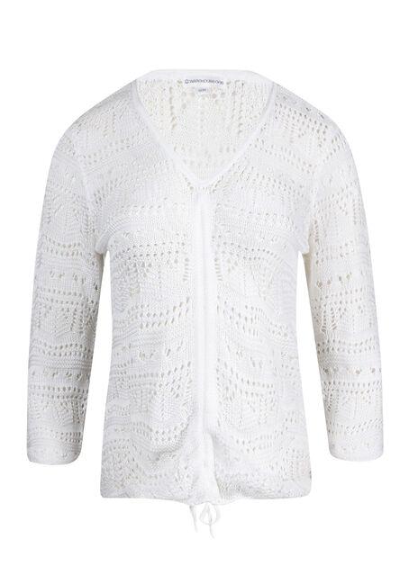 Women's Cropped Pointelle Sweater