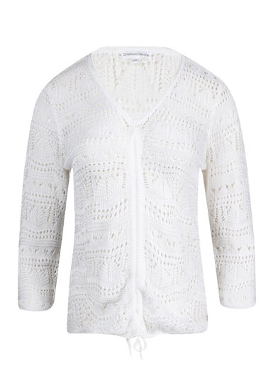 Women's Cropped Pointelle Sweater, WHITE, hi-res