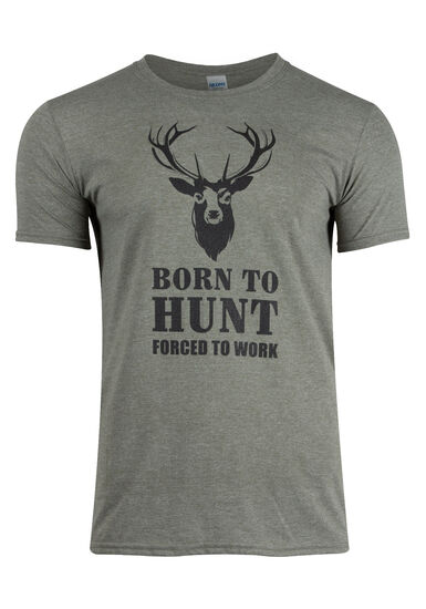 Men's Born To Hunt, Forced To Work Tee, HTHR MILITARY GREEN, hi-res